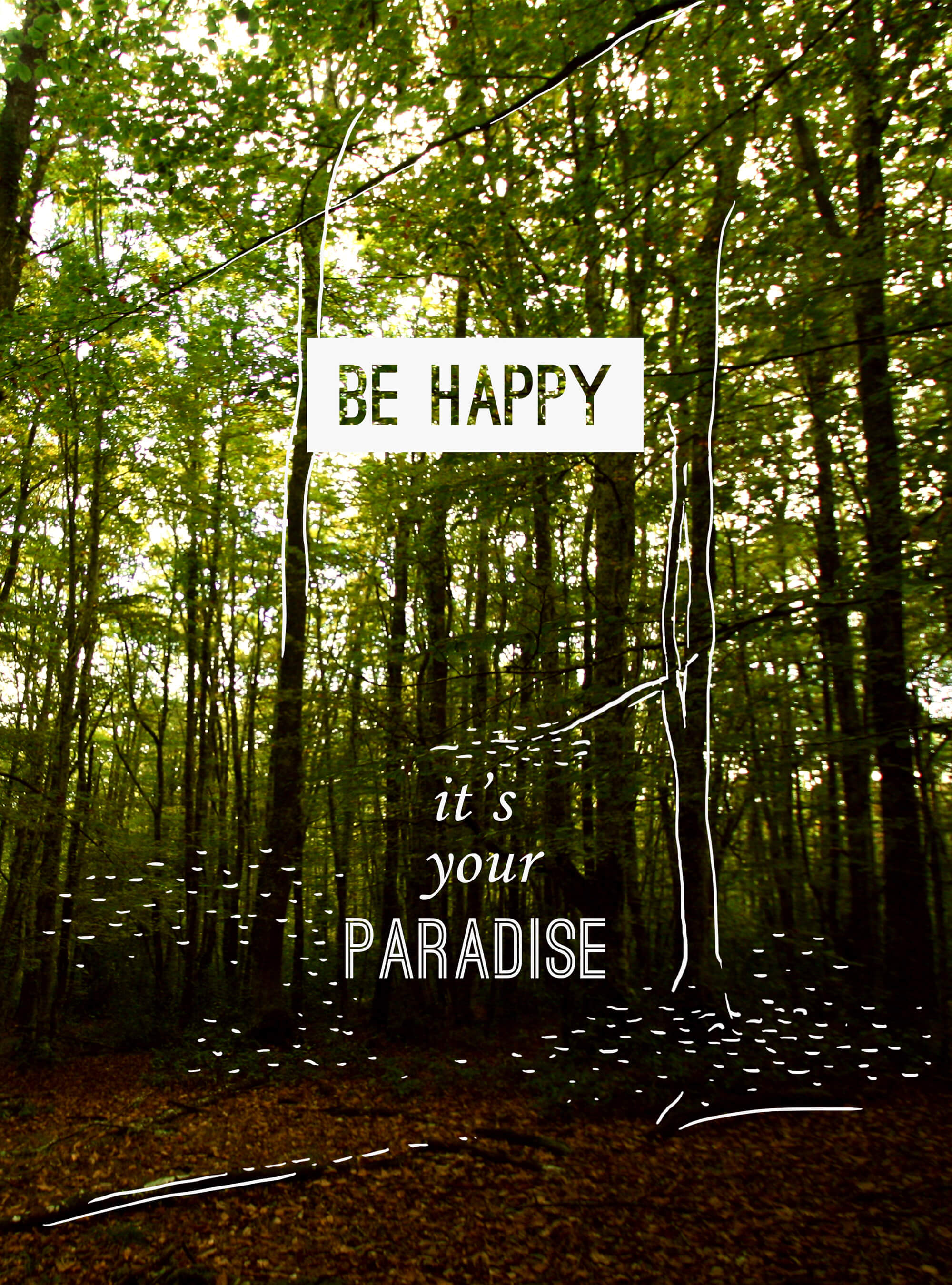 be happy forest illustration